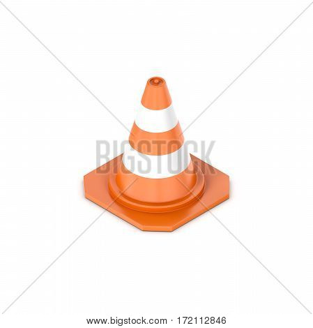 3d rendering of a orange traffic cone with white stripes in isometric view. Traffic and transportation. Driving safety. Road construction.