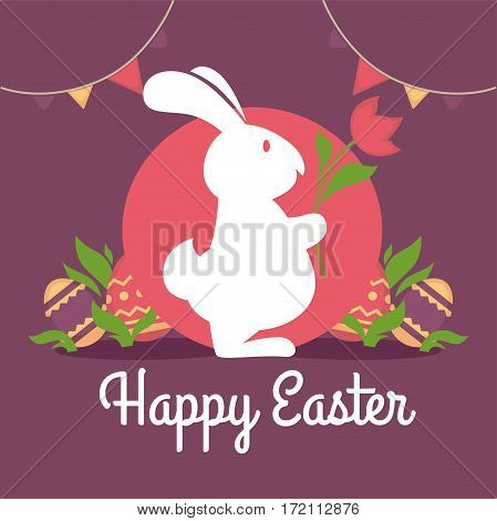Happy easter greeting card design. Rabbit silhouette with flower on background of red circle, decorated eggs and green foliage, holiday garlands. Fluffy white hare vector illustration in flat style