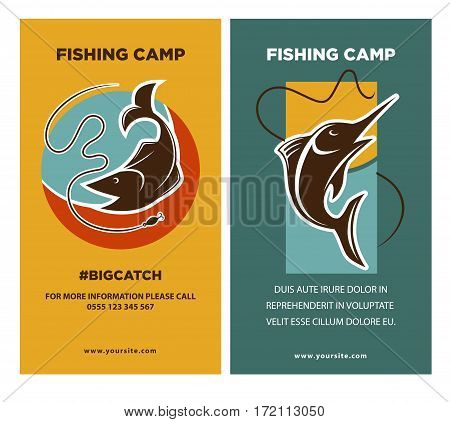 Poster with two fish near rods emblems with text. Vector banner of water swimming animal silhouettes on informative leaflets with editable text with your information. Fishing flyers concept.
