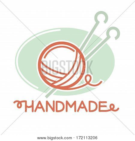 Knitting thread ball with two needles inside logo sign isolated on white. Vector illustration in flat design of colorful badge with threads and instruments for knitting homemade things and clothes