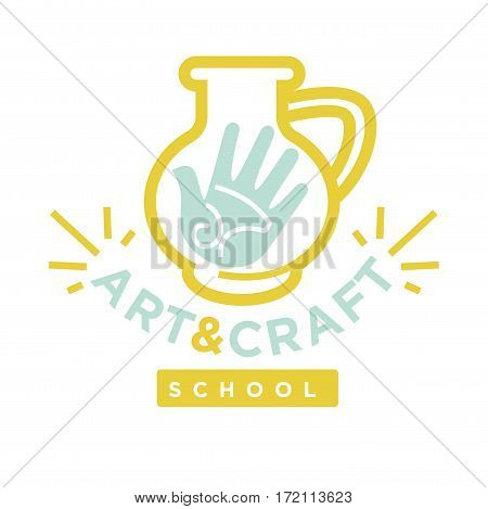 Earthen jug with hand logo label on white. Vector illustration of art and craft graphic logotype in yellow and blue colors isolated. Card with symbolic emblem that invites to attend art classes