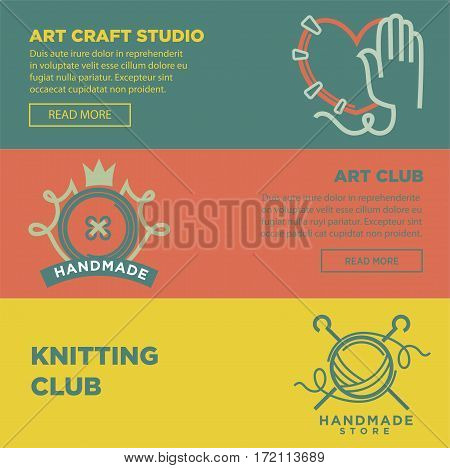 Art craft and handmade club logotypes colorful vector web poster. Flat class symbolic signs of hand making stitches on clothing heart, button with crown and knitting thread ball with needles inside