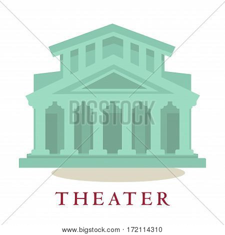 Theatre icon of building with columns. Sign symbol of modern theatrical architecture house isolated on white background. Vector illustration of theater construction in vintage style flat design