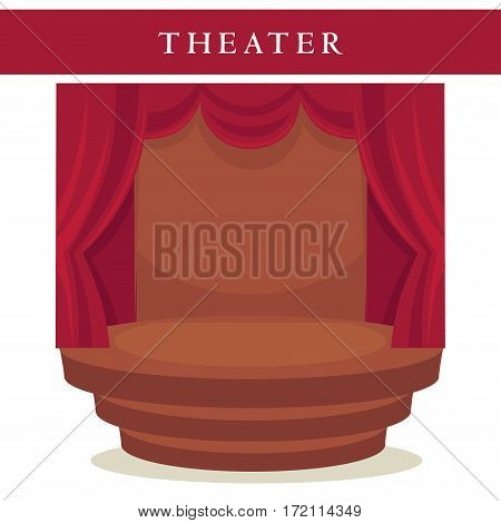 Theatre stage with red curtains and stairs emblem isolated on white background. Start of performance sign, opening of entertainment symbol. Vector illustration of red velvet curtains and empty stage