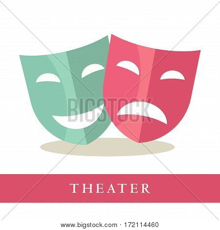 Theatre pink and blue masks icons isolated on white background. Comedy and tragedy symbols. Symbols of performance at theatrical scene. Advertisement logotype for theater plays vector illustration