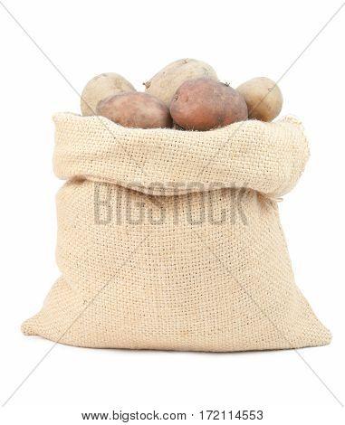potatoes in burlap sack on white background