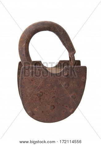 rusted open padlock isolated on white. A close up