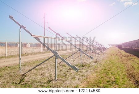 solar power plant in construction. A close up