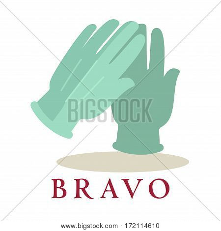 Bravo logo applause gloves icon silhouette isolated on white background. Audience approval symbol of two clapping hands. Vector illustration of congratulations sign in theatres, cinemas, concert halls