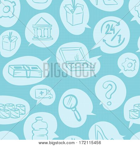 Thin shopping retail line white seamless pattern e-commerce online store and marketplace design background trendy modern style vector illustration. Money element discount package texture.