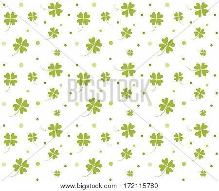 St. Patrick's day background. Four leaf clover seamless texture. Symbol of luck, green shamrock backdrop.