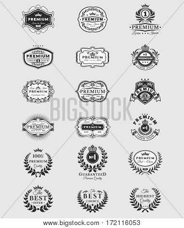 Set of vector black illustrations, badges, stickers premium quality isolated on white. Signs of the best quality, premium brands in vintage style