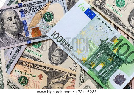 Background With Money American Dollar And Euros Bills.