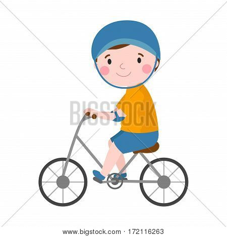 Activity boy on bike young fun sport happy child active lifestyle cartoon recreation and little kid cyclist healthy childhood leisure vector illustration. Cheerful smiling caucasian teenager.