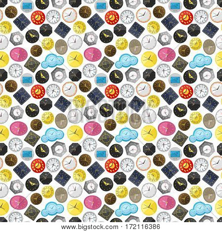 Watch clock dial colorful seamless pattern. Time background future or past detail decorative concept. Graphic circle sign antique chronometer vector illustration.