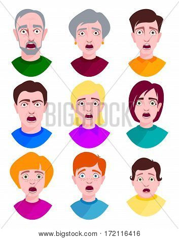 Extremely surprised young people shock portrait and frightened face emotions afraid expression person with open mouth vector illustration. Stress male and female head terrified eyes. Horror faces