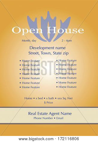 Open House Template for Real Estate agents to showcase an open house or home for sale information.