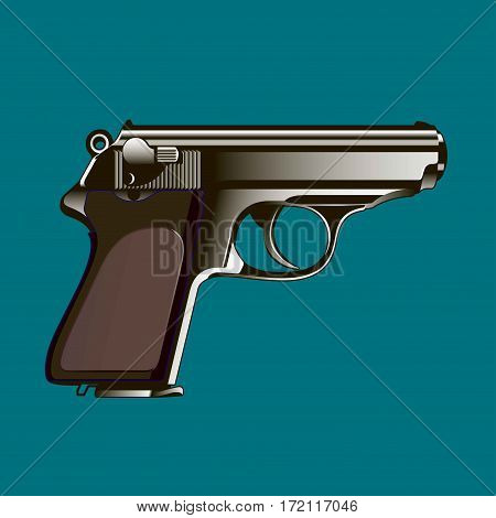 The classical gun on a blue background. Vector illustration