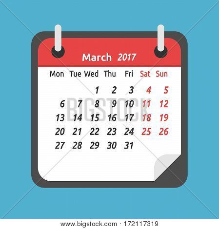 Monthly calendar for March 2017. Week starts on Monday. Time planning and schedule concept. Flat design. Vector illustration. EPS 8 no transparency