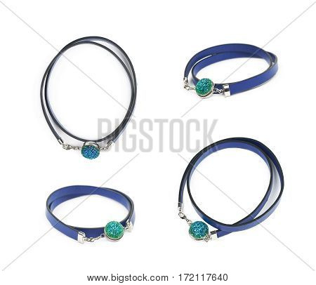 Blue leather necklace with a semiprecious stone isolated over the white background, set of four different foreshortenings