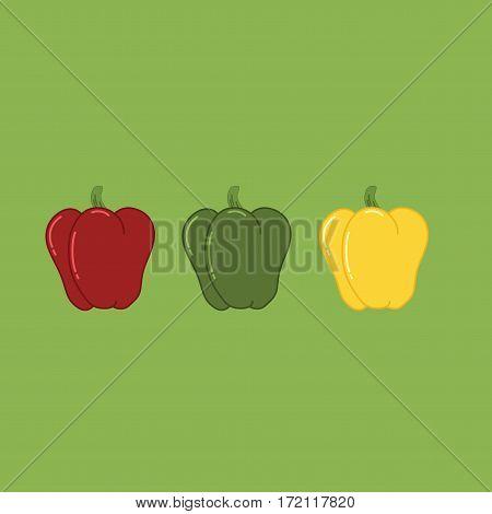 Sweet Bulgarian Bell Pepper Set. Paprika Isolated Vector Illustration