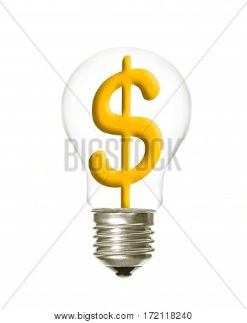a light bulb with the dollar symbol inside on a white background