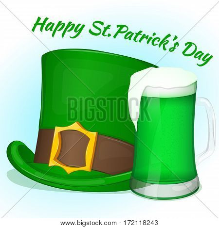 Green Saint Patricks Day hat with glass of green beer. Background for St. Patrick's day in simple cartoon style. Vector illustration. Holiday Collection.