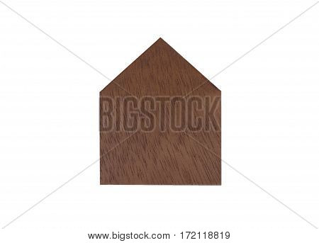 Isolate of wooden toy house with white background selective focus.