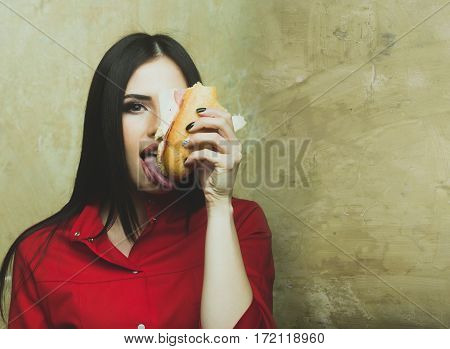 Hungry Sexy Pretty Brunette Woman Eats Big Sandwich Or Burger