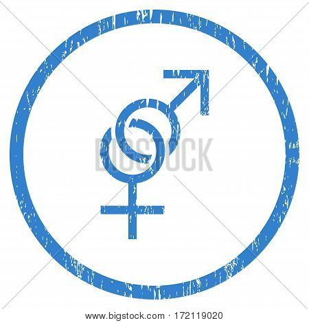 Sex Symbol grainy textured icon for overlay watermark stamps. Rounded flat vector symbol with dust texture. Circled cobalt ink rubber seal stamp with grunge design on a white background.