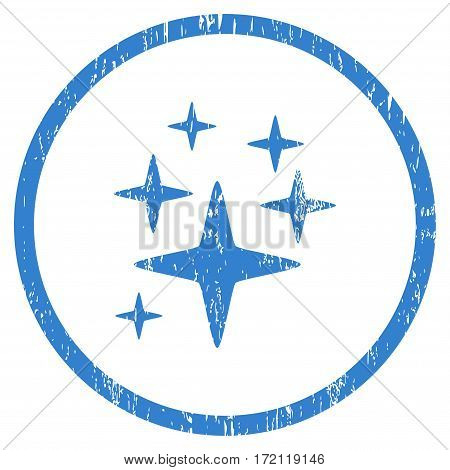 Sparkle Stars grainy textured icon for overlay watermark stamps. Rounded flat vector symbol with dust texture. Circled cobalt ink rubber seal stamp with grunge design on a white background.