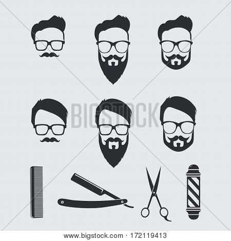 Vintage Barber Tools and Elements. Vector Illustration Drawing