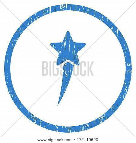 Starting Star grainy textured icon for overlay watermark stamps. Rounded flat vector symbol with unclean texture. Circled cobalt ink rubber seal stamp with grunge design on a white background.