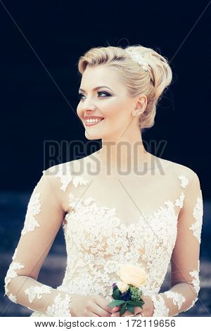 Happy Pretty Cute Bride With Beautiful Makeup In Wedding Dress