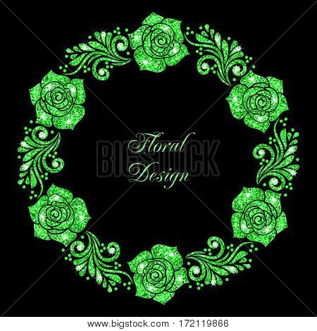 Stylized floral ornament made of green shiny confetti. Vector illustration