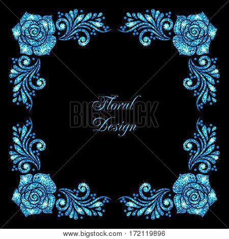 Stylized floral ornament made of blue shiny confetti. Vector illustration