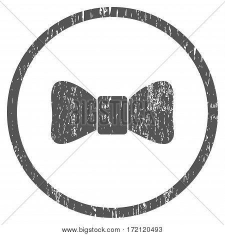 Bow Tie grainy textured icon for overlay watermark stamps. Rounded flat vector symbol with dirty texture. Circled gray ink rubber seal stamp with grunge design on a white background.