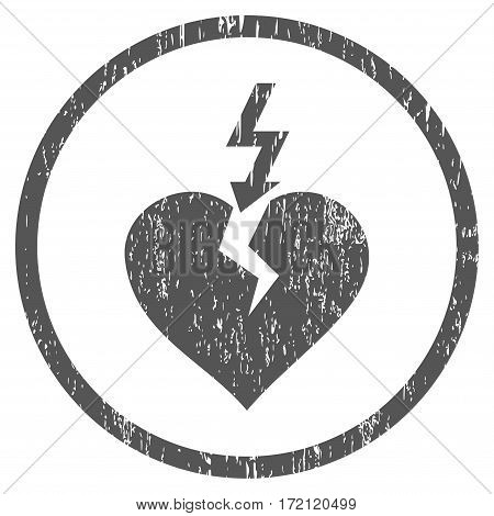Break Heart grainy textured icon for overlay watermark stamps. Rounded flat vector symbol with unclean texture. Circled gray ink rubber seal stamp with grunge design on a white background.