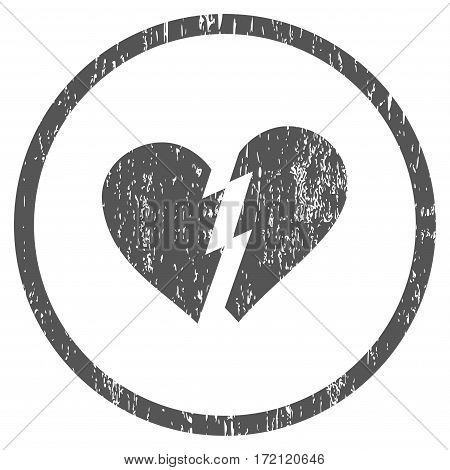 Broken Heart grainy textured icon for overlay watermark stamps. Rounded flat vector symbol with dust texture. Circled gray ink rubber seal stamp with grunge design on a white background.