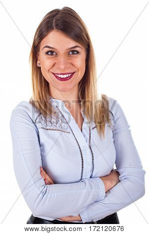 Portrait of a gorgeous young woman with arms crossed