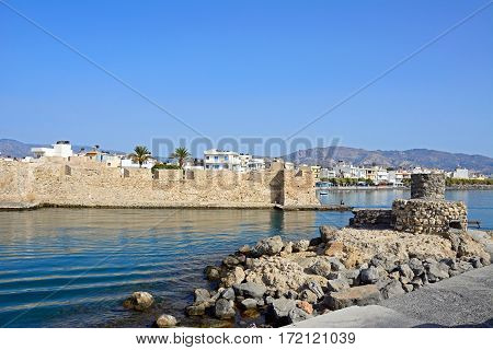 View of the Kales Venetian fortress at the entrance to the harbour Ierapetra Crete Greece Europe.