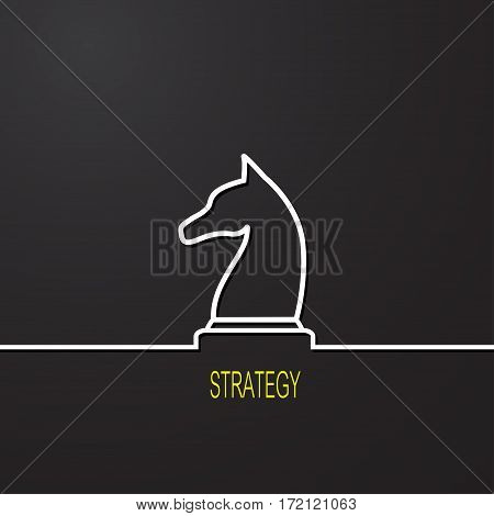 Strategy concept. Chess symbol on black background