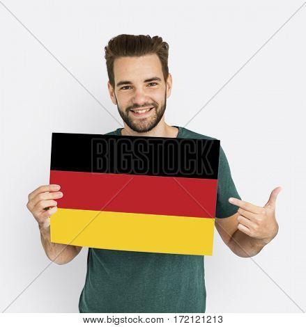 Man Hold Germany Deutsch Flag Patriotism