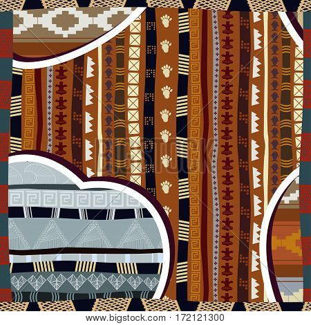 Seamless pattern in African style with a silhouette of the heart
