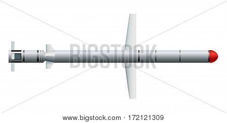 Сruise missile on a white background. Weapons.