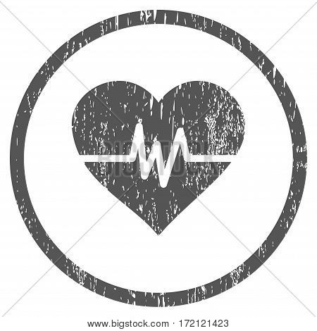 Heart Pulse grainy textured icon for overlay watermark stamps. Rounded flat vector symbol with dirty texture. Circled gray ink rubber seal stamp with grunge design on a white background.
