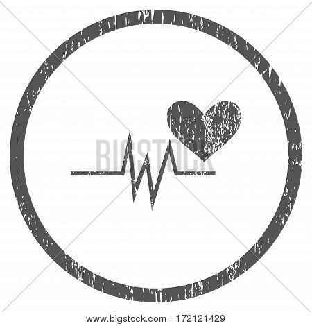 Heart Pulse Signal grainy textured icon for overlay watermark stamps. Rounded flat vector symbol with unclean texture. Circled gray ink rubber seal stamp with grunge design on a white background.