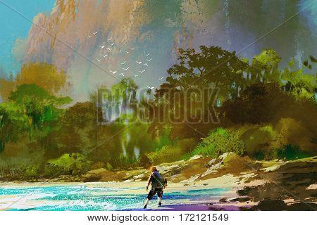 the castaway man standing on island beach, illustration painting