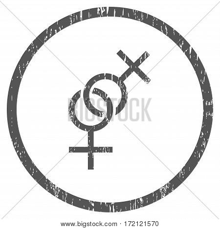 Lesbian Love Symbol grainy textured icon for overlay watermark stamps. Rounded flat vector symbol with dust texture. Circled gray ink rubber seal stamp with grunge design on a white background.