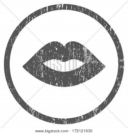 Lips grainy textured icon for overlay watermark stamps. Rounded flat vector symbol with scratched texture. Circled gray ink rubber seal stamp with grunge design on a white background.